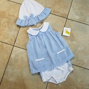 Starting Out 3 Piece Outfit With Hat Blue White